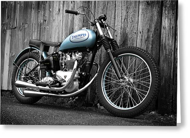 Flat Greeting Cards - Triumph T100 R Class C Flat Track Racer Greeting Card by Mark Rogan