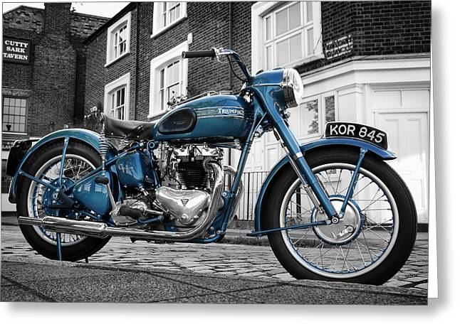 Motorcycles Greeting Cards - Triumph Thunderbird 1952 Greeting Card by Mark Rogan