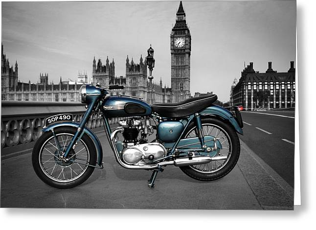 Motorcycle Poster Greeting Cards - Triumph Thunderbird 1955 Greeting Card by Mark Rogan