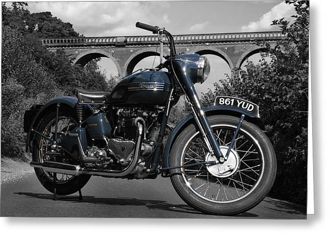 Art. Photograph Greeting Cards - Triumph Thunderbird 6T 1950 Greeting Card by Mark Rogan