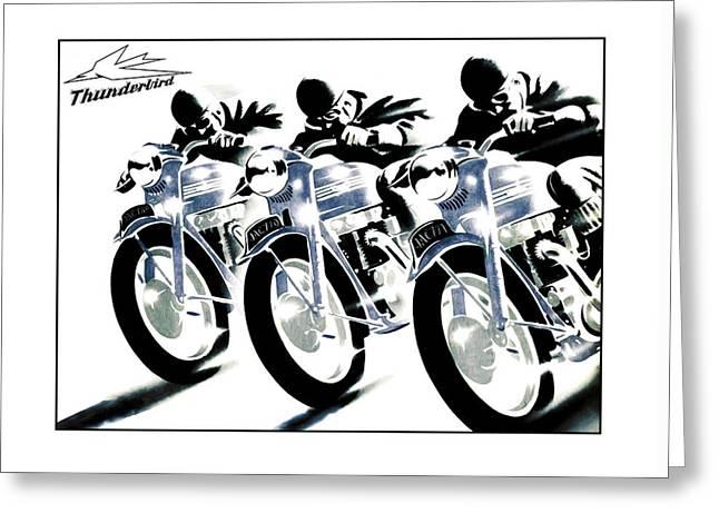Motorcycle Art Greeting Cards - Triumph Thunderbird Trio Greeting Card by Mark Rogan