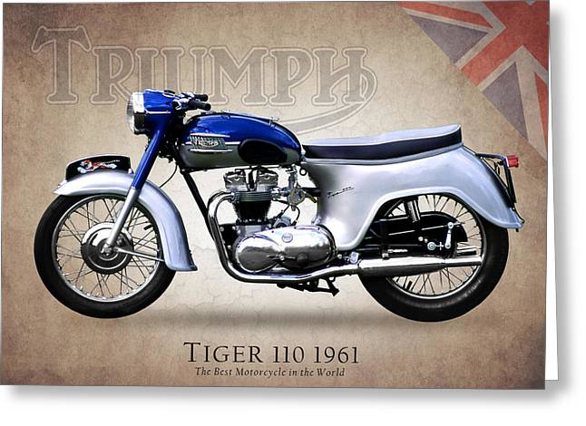 Tiger Poster Greeting Cards - Triumph Tiger 1961 Greeting Card by Mark Rogan