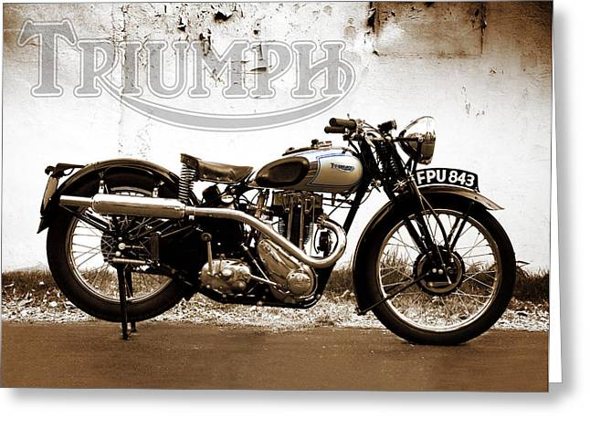 Motorcycles Greeting Cards - Triumph Tiger 80 - 1937 Greeting Card by Mark Rogan