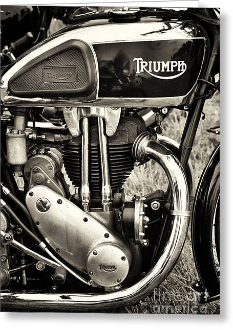 1930s Greeting Cards - Triumph Tiger 80 Sepia Greeting Card by Tim Gainey