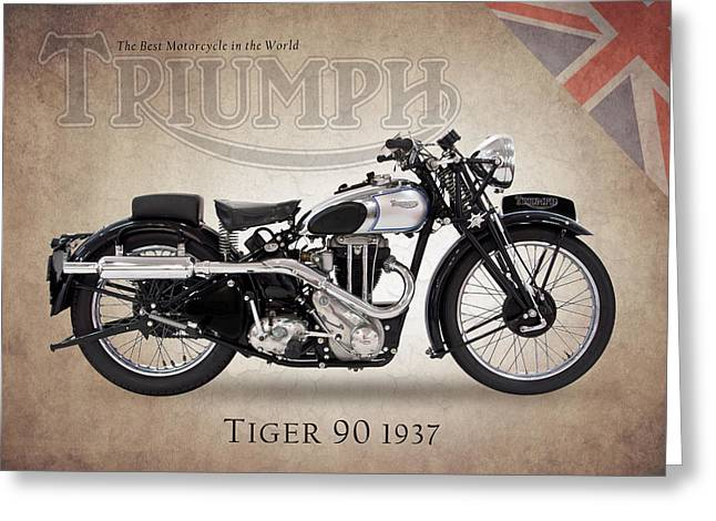 Tiger Poster Greeting Cards - Triumph Tiger 90 Greeting Card by Mark Rogan