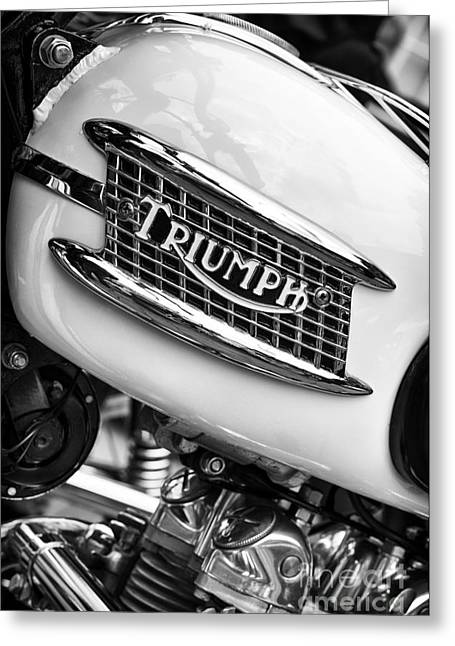 British Culture Greeting Cards - Triumph Tiger 90 Monochrome Greeting Card by Tim Gainey