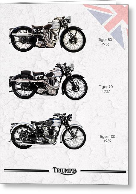 Tiger Photographs Greeting Cards - Triumph Tiger Trio Greeting Card by Mark Rogan