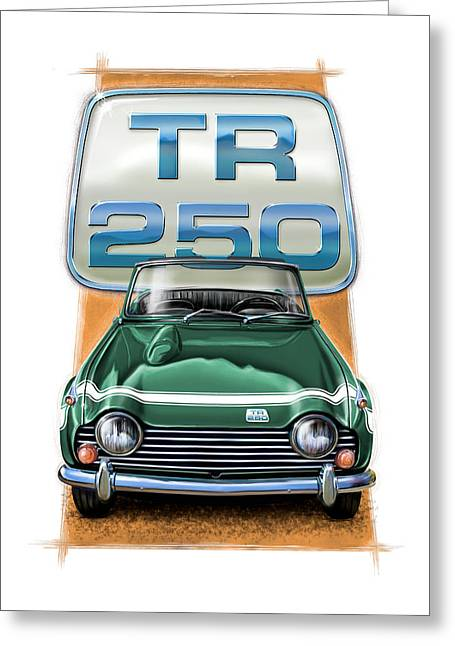 Wire Wheels Greeting Cards - Triumph TR-250 Sportscar in Dark Green Greeting Card by David Kyte