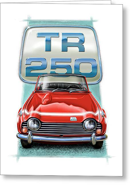 Wire Wheels Greeting Cards - Triumph TR-250 Sportscar in Red Greeting Card by David Kyte