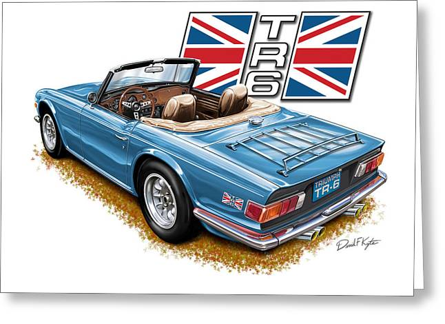 English Car Greeting Cards - Triumph TR-6 in French Blue Greeting Card by David Kyte
