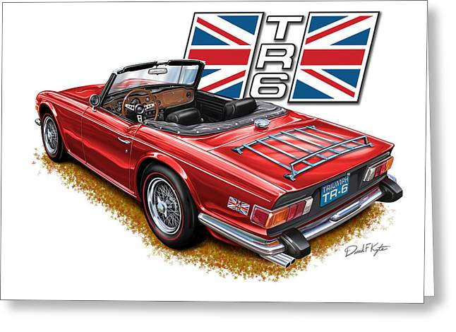 English Car Greeting Cards - Triumph TR-6 Red wire wheels Greeting Card by David Kyte