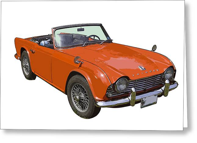Small Convertible Greeting Cards - Triumph TR4 - British - Sports Car Greeting Card by Keith Webber Jr