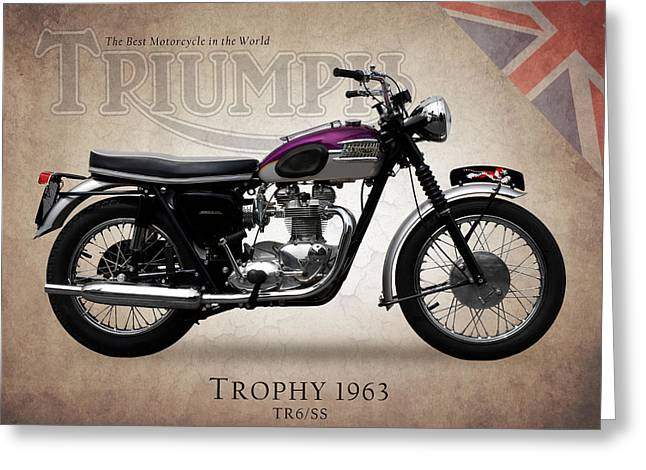 Motorcycle Photographs Greeting Cards - Triumph Trophy 1963 Greeting Card by Mark Rogan