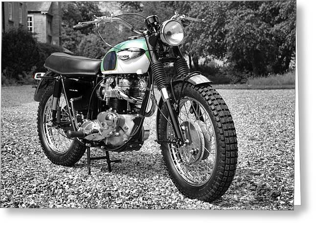 Motorcycle Art Greeting Cards - Triumph Trophy TR6/C Greeting Card by Mark Rogan