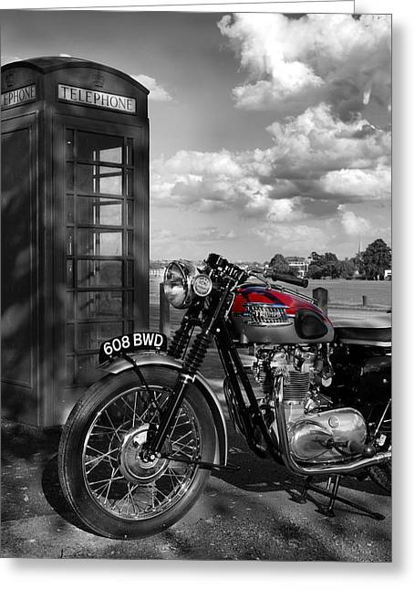 Transportation Greeting Cards - Triumph Trophy TR6R 1961 Greeting Card by Mark Rogan
