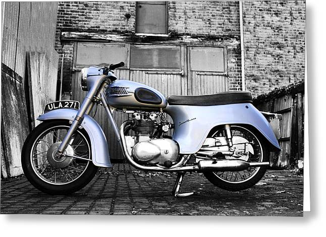 Motorcycle Poster Greeting Cards - Triumph Twenty One Greeting Card by Mark Rogan