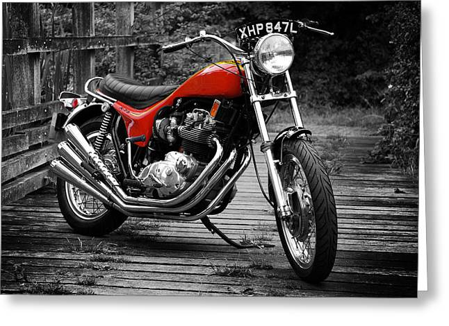 Motorcycle Poster Greeting Cards - Triumph X-75 Hurricane Greeting Card by Mark Rogan