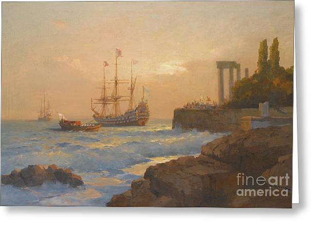 Slavic Greeting Cards - Triumphant Ship Approaching The Harbour Greeting Card by Celestial Images