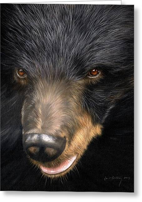 Trixie Moon Bear - In Support Of Animals Asia Greeting Card by David Stribbling