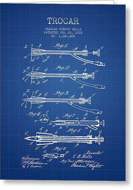 Implant Greeting Cards - Trocar patent from 1915 - Blueprint Greeting Card by Aged Pixel