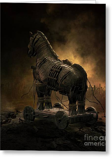 Trojan Greeting Cards - Trojan Horse Greeting Card by Shanina Conway