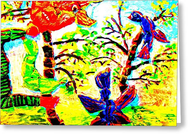 Symbolic Reliefs Greeting Cards - Troll Defending His Trees Greeting Card by Else Margrethe Widerberg