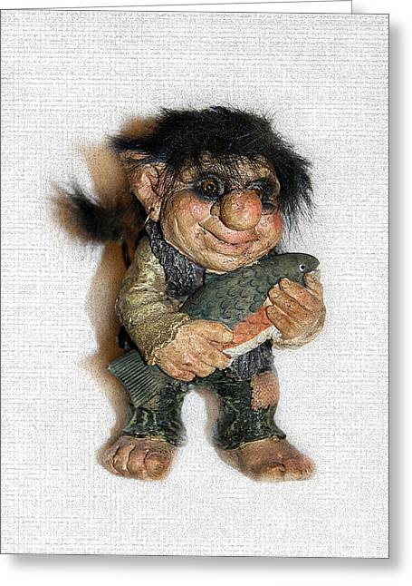 Fairies Sculptures Greeting Cards - Troll fisherman Greeting Card by Sergey Lukashin
