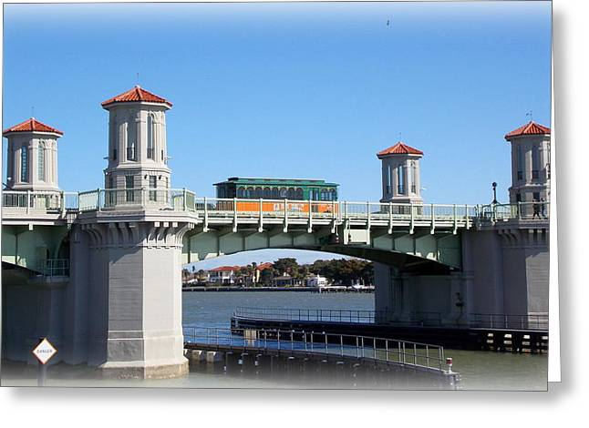 Trolley On Bridge Of Lions Greeting Card by Sheri McLeroy