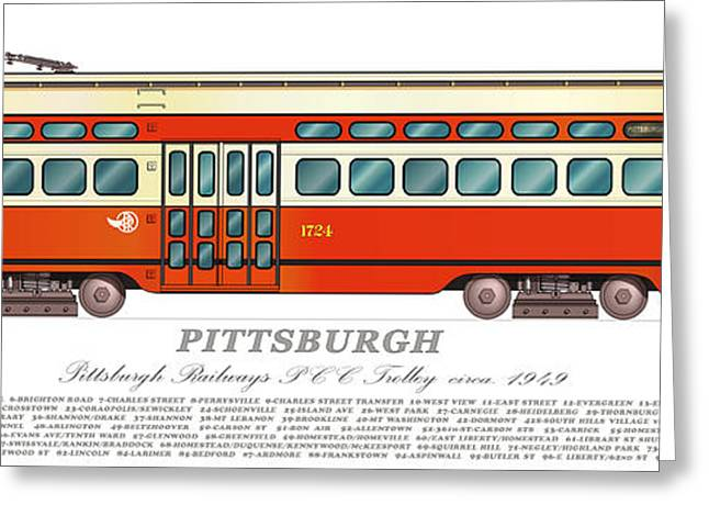 Pcc Greeting Cards - Trolley Pittsburgh circa 1949 Greeting Card by Carlos F Peterson