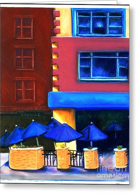 Downtown Pastels Greeting Cards - Trolleys Greeting Card by Janet Hull