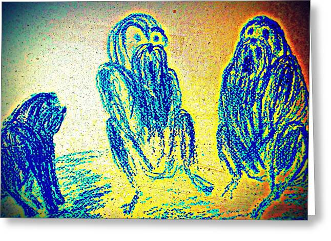 Aura Drawings Greeting Cards - the Council of Elders Greeting Card by Hilde Widerberg