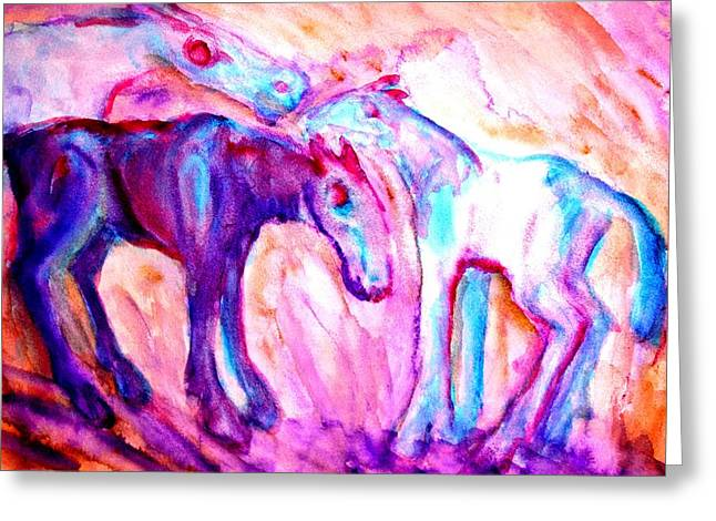 Sweating Paintings Greeting Cards - We Are Family Greeting Card by Hilde Widerberg