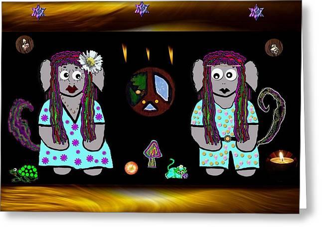 Trolls In Hippie Wood Greeting Card by Pepita Selles