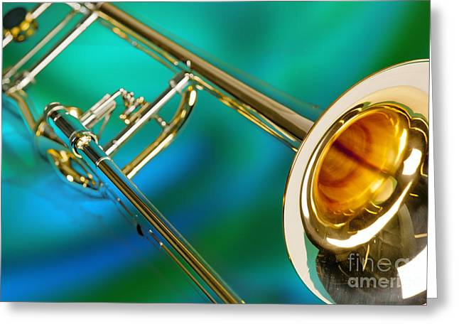 Marching Band Greeting Cards - Trombone Against Green and Blue in Color 3204.02 Greeting Card by M K  Miller