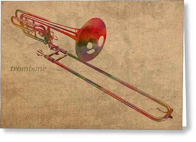 Instrument Mixed Media Greeting Cards - Trombone Brass Instrument Watercolor Portrait on Worn Canvas Greeting Card by Design Turnpike