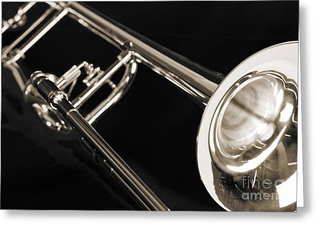 Marching Band Greeting Cards - Trombone on Black black and white sepia color 3204.03 Greeting Card by M K  Miller