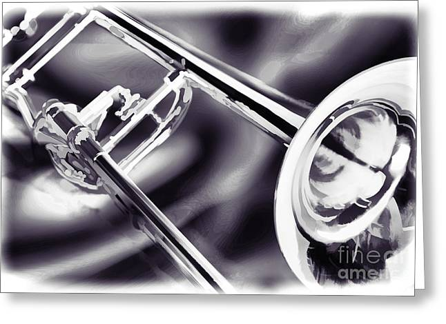 Marching Band Greeting Cards - Trombone Painting in black and white sepia 3205.01 Greeting Card by M K  Miller