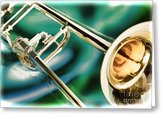 Marching Band Greeting Cards - Trombone Painting in Color 3205.02 Greeting Card by M K  Miller