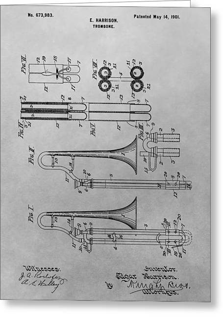 Marching Band Greeting Cards - Trombone Patent Drawing Greeting Card by Dan Sproul