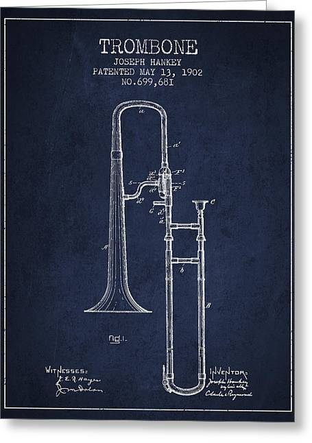 Trombone Greeting Cards - Trombone Patent from 1902 - Blue Greeting Card by Aged Pixel