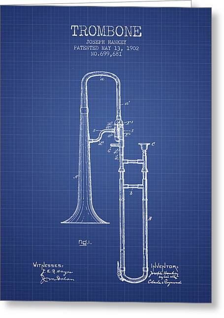 Trombone Greeting Cards - Trombone Patent from 1902 - Blueprint Greeting Card by Aged Pixel