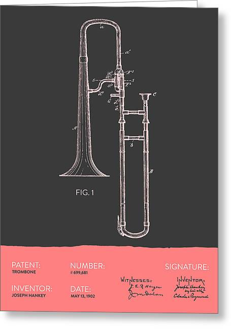 Trombone Greeting Cards - Trombone Patent from 1902 - Modern Gray Salmon Greeting Card by Aged Pixel