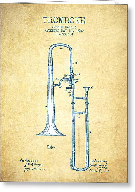 Trombone Greeting Cards - Trombone Patent from 1902 - Vintage Paper Greeting Card by Aged Pixel