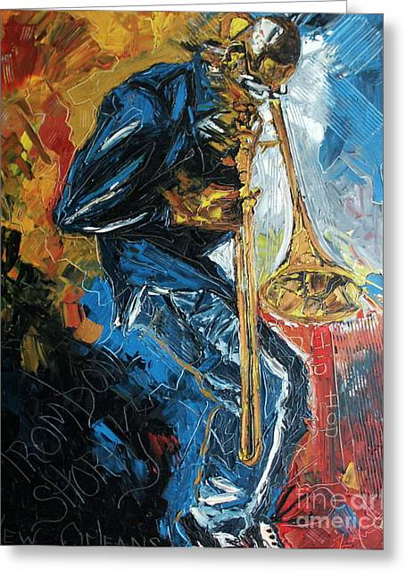 Trombone Greeting Cards - Trombone Shorty Greeting Card by Wayne LE ONE