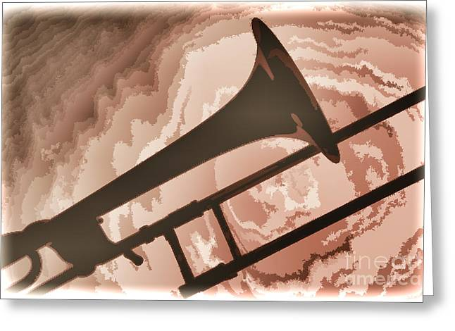 Marching Band Greeting Cards - Trombone Silhouette Painting in Color 3206.02 Greeting Card by M K  Miller