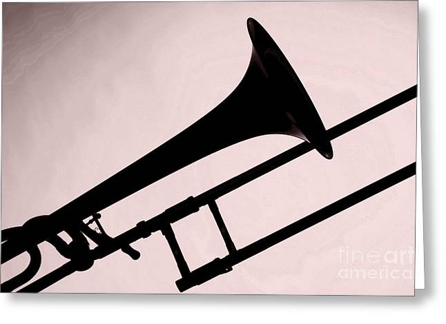 Marching Band Greeting Cards - Trombone Silhouette Painting in Sepia 3206.01 Greeting Card by M K  Miller
