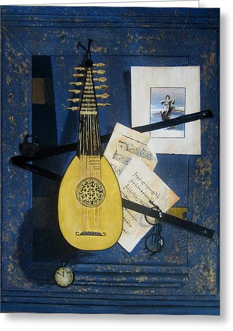 Lute Paintings Greeting Cards - Trompe l oeil  Greeting Card by Gea Scheltinga