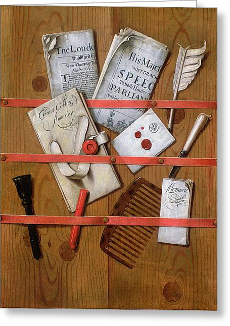 Rack Greeting Cards - Trompe Loeil, 1702 Oil On Canvas Greeting Card by Evert Collier