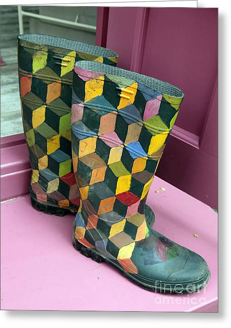 Kaffe Greeting Cards - Trompe loeil Wellington Boots Greeting Card by Ros Drinkwater