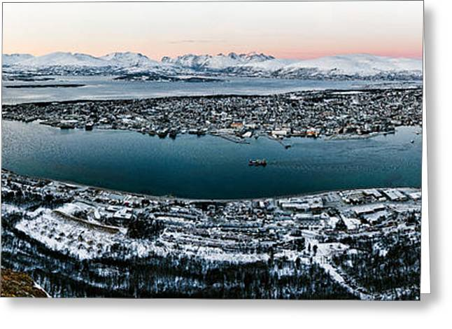 Arctic Circle Greeting Cards - Tromso from the Mountains Greeting Card by Dave Bowman
